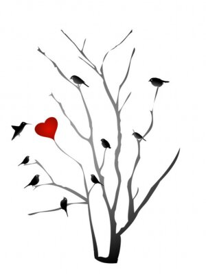 Naklejka Ptaki oglądać palenisko na wektorze drzewa