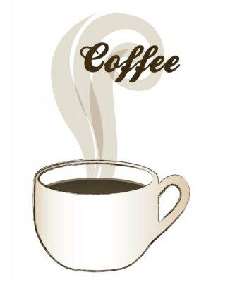 Naklejka Puchar parującej kawy