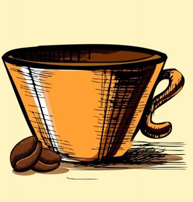 Naklejka Puchar z dwóch ziaren kawy