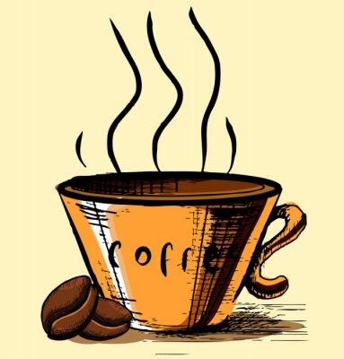 Naklejka Puchar z dwóch ziaren kawy i pary gorącej