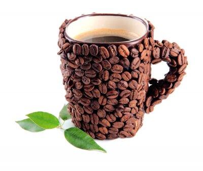 Naklejka Puchar ziaren kawy na białym tle