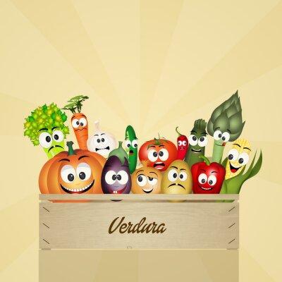 Naklejka pudełko z warzyw
