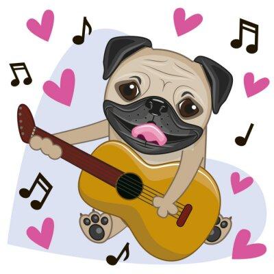 Naklejka Pug Dog with guitar