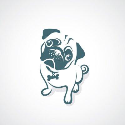 Naklejka Pug pies