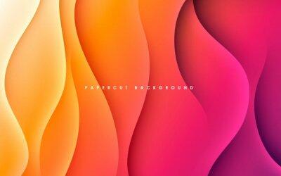 Naklejka Purple and orange gradient background dynamic wavy light and shadow