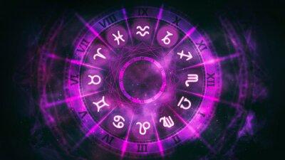 Naklejka Purple astrological wheel with zodiac symbols and night starry sky. Horoscope background digital illustration.