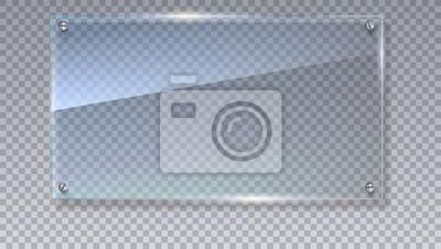 Naklejka Pusta, przeźroczysta wektora szklana płyta. Szablon wektora, makieta mock-up z kopiowaniem przestrzeni. Zdjęcie realistyczne tekstury z podkreśla i blask na przezroczystych. Zobacz przez plastikową il