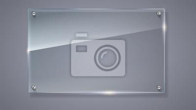 Naklejka Pusta, przeźroczysta wektora szklana płyta. Szablon wektorowe, poziome transparentu z miejsca kopiowania. Zdjęcie realistyczne tekstury z podkreśla i blask na tle. Zobacz przez plastikową ilustrację 3