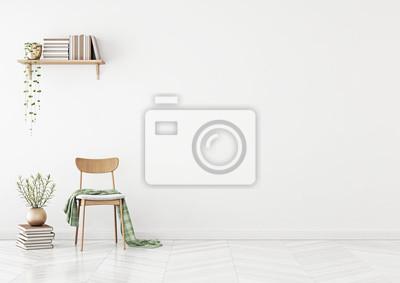 Naklejka Pusta ściana makieta z krzesłem, półka z książkami i roślin w wazonie w czystym białym salonie. Grafika trójwymiarowa.