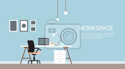 Naklejka Puste miejsce pracy, krzesło biurowe Komputery Workspace Ma Ludzi