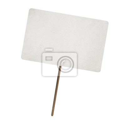 Naklejka pusty arkusz papieru na drewnianym kijem