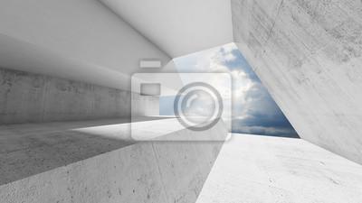 Naklejka Pusty bielu betonu wnętrze z chmurnym niebem