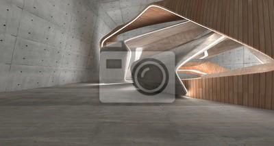 Naklejka Pusty ciemny abstrakta beton i drewno gładkie wnętrze. Tło architektoniczne. Ilustracja 3D i rendering