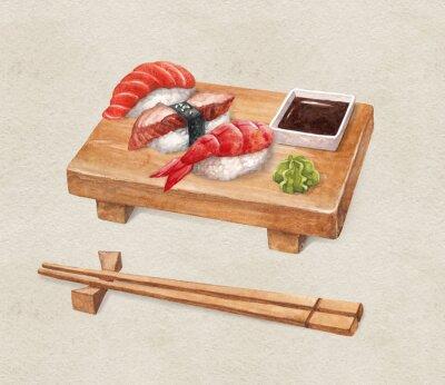 Naklejka Pyszne sushi. Watercollor ilustracje