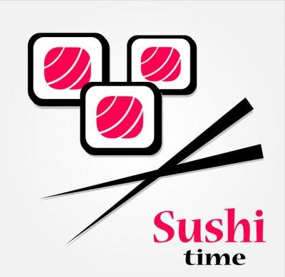 Naklejka pyszne świeże sushi logo