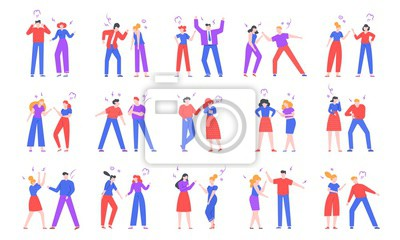 Quarrel people. Crier characters, swearing friends and family members, conflict, disagreement and disrespecting humans vector illustration. Negative emotions expression isolated on white collection