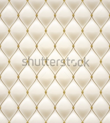 Naklejka Quilted seamless pattern. Cream color. Golden metallic stitching on textile.