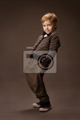 Naklejka Radosny taniec Boy na brązowym tle. Vintage style.