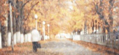 Naklejka rain background autumn landscape park, abstract seasonal nobody weather october landscape