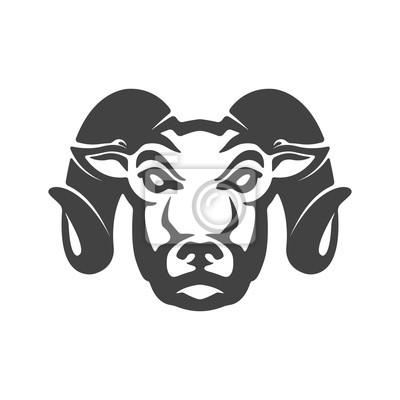 Ram ikony samodzielnie na białym tle. Głowica Baranina. eleme design