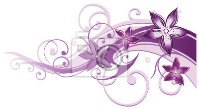 Naklejka Ranke, flora, Blumen, Blüten, filigran, lila, fioletowy, rosa
