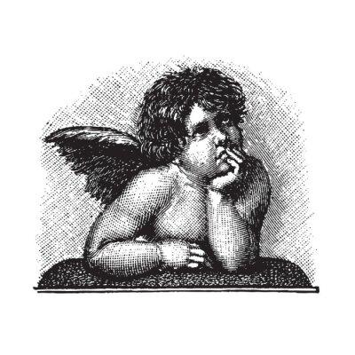 Naklejka Raphael's Madonna Sykstyńska Miłość Cherub, wektorowy grawerowanie