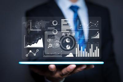 Naklejka Raport analizy danych i kluczowe wskaźniki wydajności na pulpicie informacyjnym strategii biznesowej i analizy biznesowej.