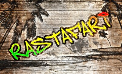 Naklejka Rastafari Grafitti auf altem Holzbrett