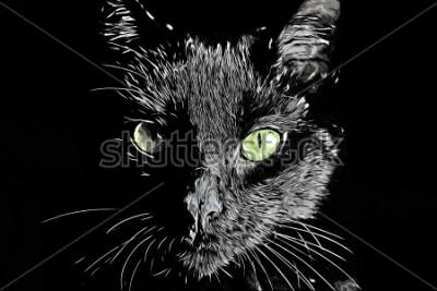Naklejka Raster twarzy Cat czarno-białe realistyczne ręcznie rysowane scratchboard stylu obrazu