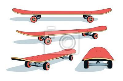 Naklejka Realistic cartoon skateboard from different angles. Vector illustration.