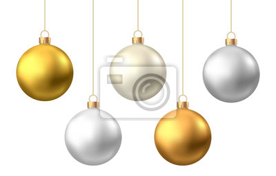 Naklejka Realistic  gold, silver  Christmas  balls  isolated on white background.