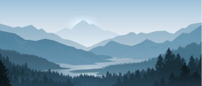 Naklejka Realistic mountains landscape. Morning wood panorama, pine trees and mountains silhouettes. Vector forest hiking background