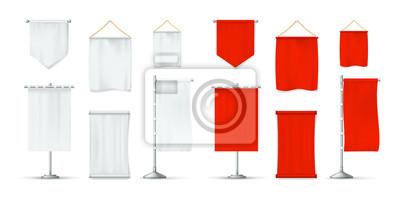 Naklejka Realistic red and white textile banners set