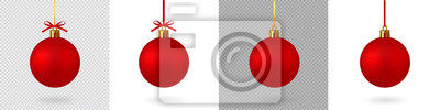Naklejka Realistic Red Christmas ball with ribbon and bow, isolated background - stock vector.