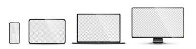 Naklejka Realistic set of monitor, laptop, tablet, smartphone - PNG. Vector illustration