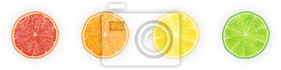 Naklejka Realistyczne 3d ilustracji wektorowych Zestaw plastry pomarańczy, grejpfruta, cytryny i limonki. Kolorowe tło cytrusowe.