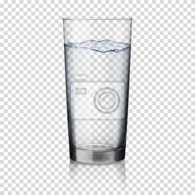 Naklejka realistyczne przezroczyste szklankę wody izolowane