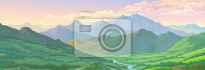 Naklejka Realistyczny obraz wektorowy górskiego krajobrazu i rzeki przez zielone pola.