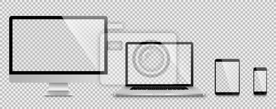 Naklejka Realistyczny zestaw monitor, laptop, tablet, smartphone - Stockowa ilustracja wektorowa