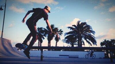 Naklejka Rear View Of Man Skateboarding At Park Against Sky