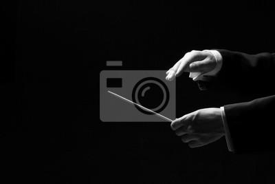 Naklejka Ręce dyrygenta samodzielnie na czarnym tle