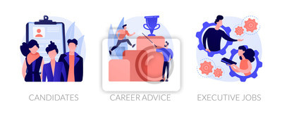 Naklejka Recruitment and headhunting agency, employment service icons set. Employees hiring. Candidates, career advice, executive jobs metaphors. Vector isolated concept metaphor illustrations