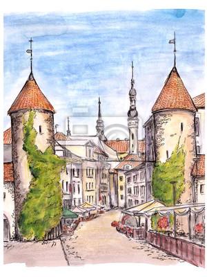 Ręcznie malowane szkic bramy miasta Tallinn