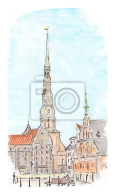 Ręcznie malowane szkic Rydze Miasta. Widok Akwarela