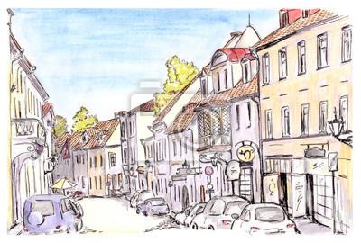 Ręcznie malowane szkic ulicy miasta Tallinn, Estonia