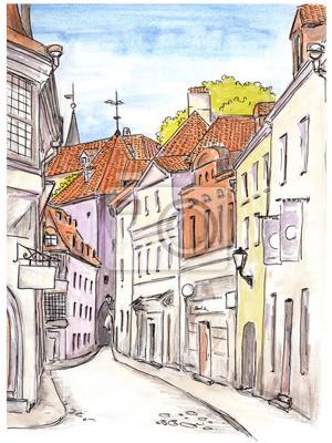 Ręcznie malowane szkic ulicy w starego miasta europejskie