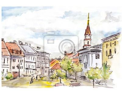 Ręcznie malowane szkic wileńskiej ulicy miasta. Akwarela i liniowej