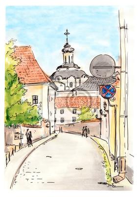 Ręcznie malowane szkic Wilnie miasta ulicy