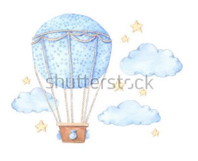 Naklejka Ręcznie opracowana akwarela ilustracja - gorące powietrze balon na niebie. Idealny do druku dla dzieci, plakatów, zaproszeń itp