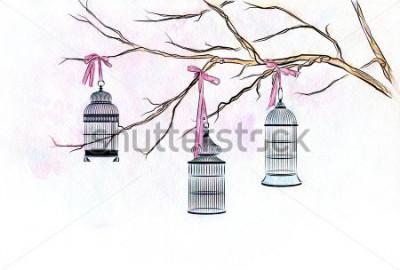 Naklejka Ręcznie opracowane akwarela trzy klatki ptaków na gałęzi drzewa z różowymi wstążkami.